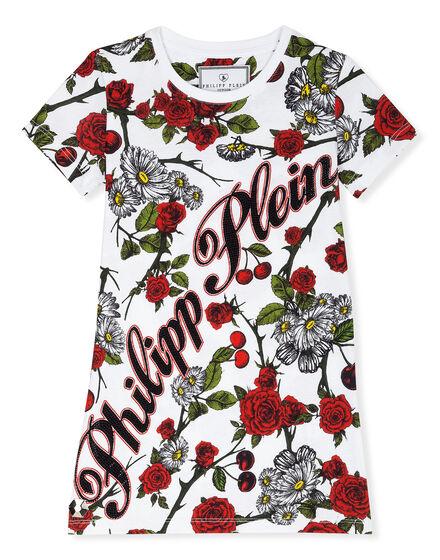 T-Shirt Short Dresses Red Roses