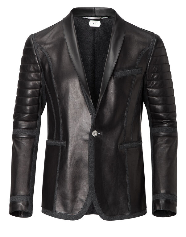 """leather blazer """"join us"""""""