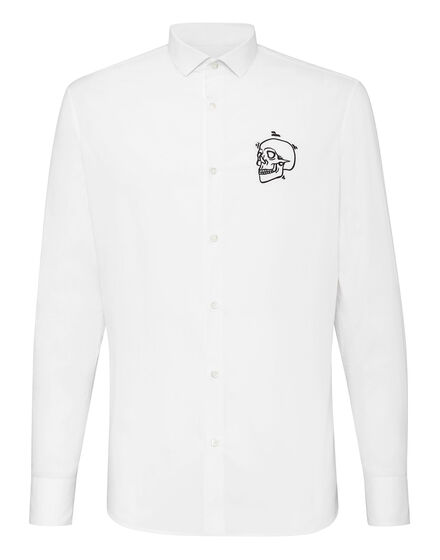 Shirt Diamond Cut LS  Outline Skull