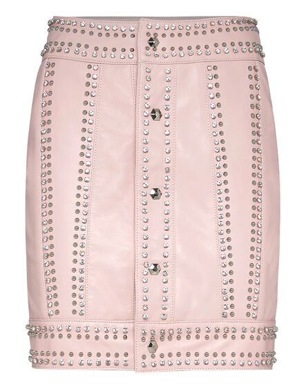 Leather Skirt Short Crystal