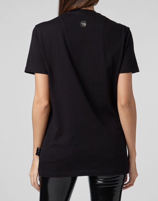 T-shirt Black Cut Round Neck Skull