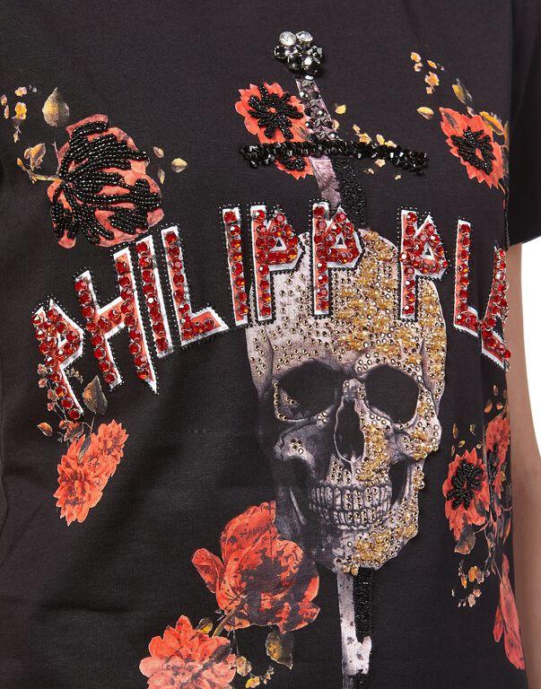"""T-Shirt Short Dresses """"Flower and skull"""""""