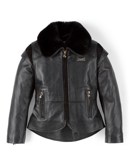 leather jacket with collar fur beverly