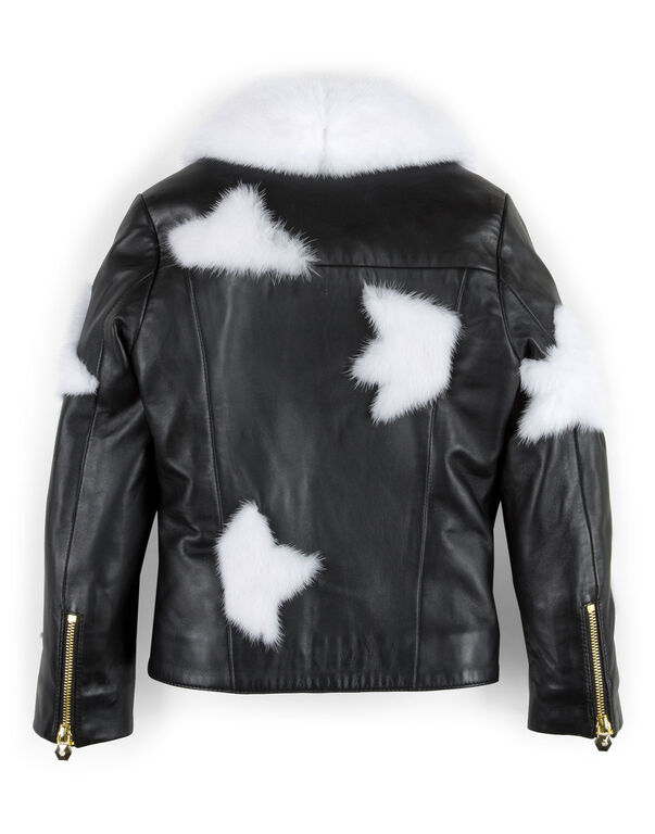 "leather jacket ""white fur"""