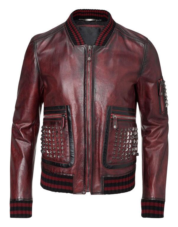 "leather jacket ""across it"""