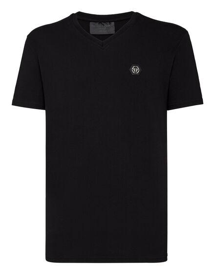T-shirt V-Neck SS Skull strass