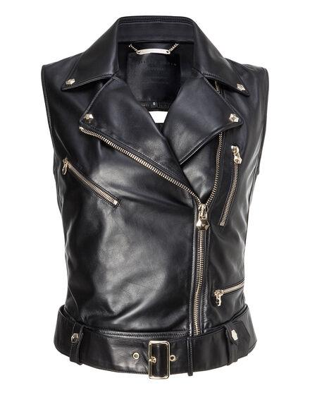 Leather Vest Short Fluorite