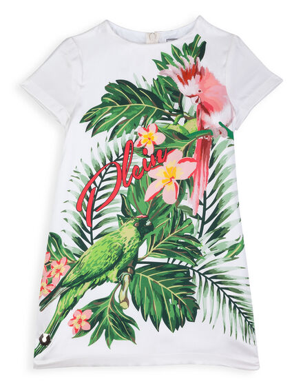 T-Shirt Short Dress Bouquet Parrot