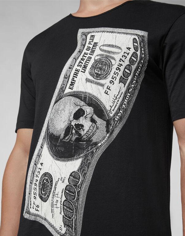 T-shirt Black Cut Round Neck Dollar