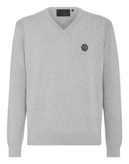 Cotton Pullover V-Neck LS