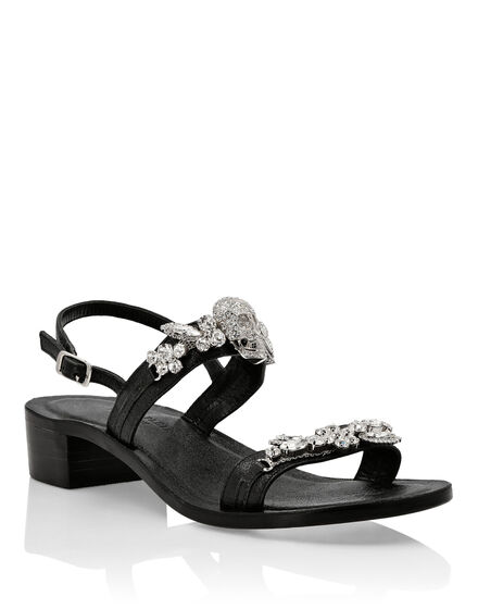 Laminated leather Sandals Flat Crystal
