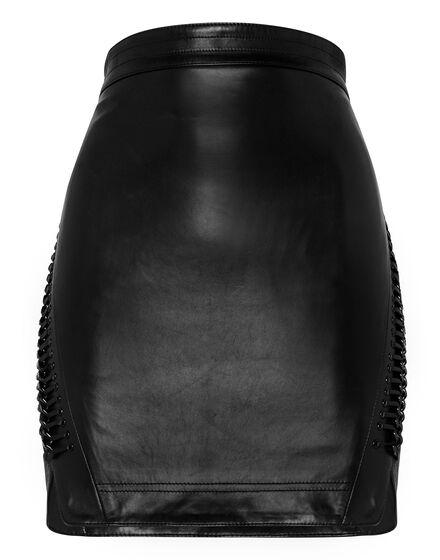 Leather Skirt Short Crystal