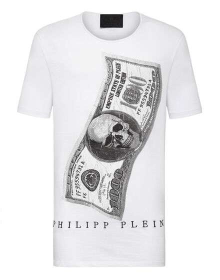 T-shirt Black Cut Round Neck Dollar