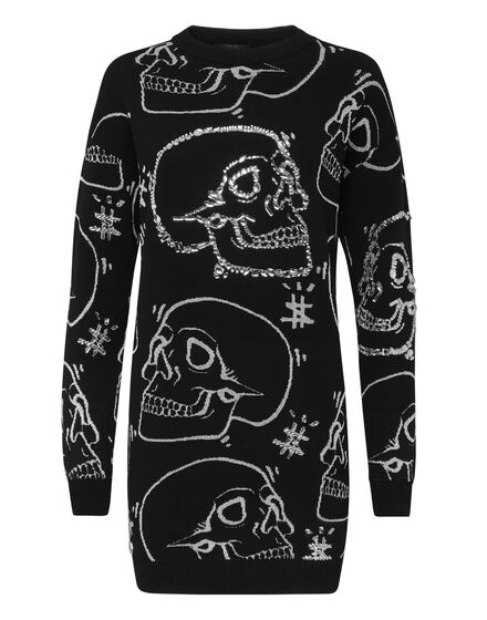 Knit Dress  Look At Me All Over  Skull strass