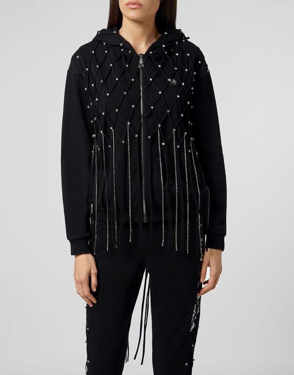 Hoodie Sweatjacket Net Crystal Touch Fringe