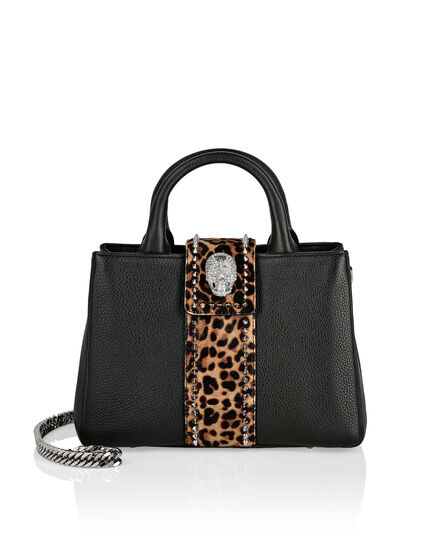 Handle bag small size skull crystal Leopard