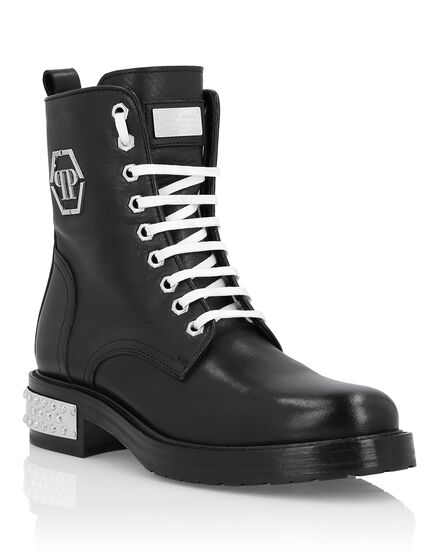 Leather Boots Low Flat Studs