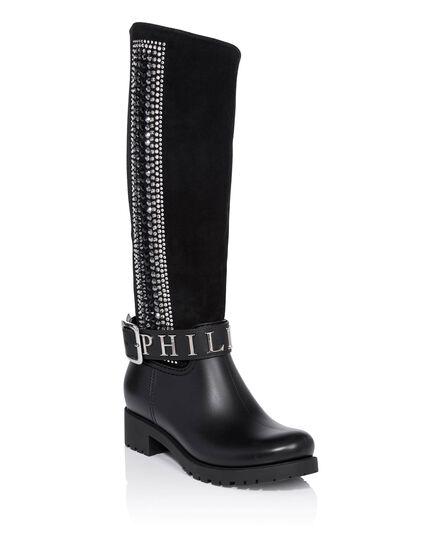 Gummy flat high boots edera