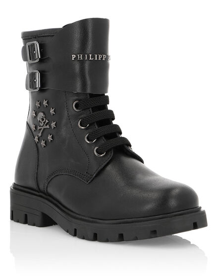 Boots Mid Flat Stars and skull