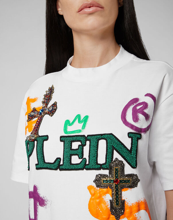 T-shirt Round Neck SS Baroque cross