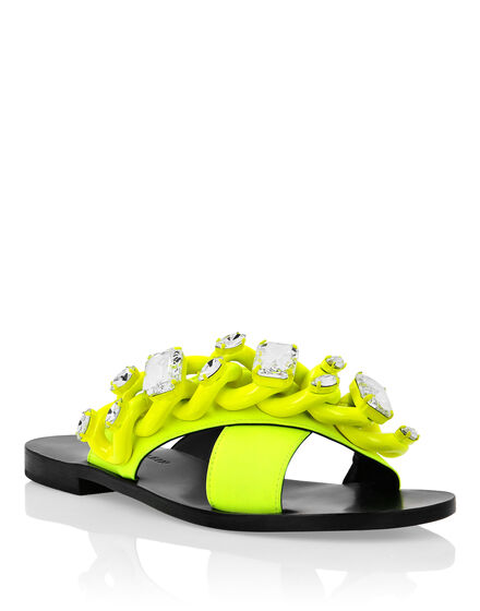 Rubber Leather Sandals Flat Fluo