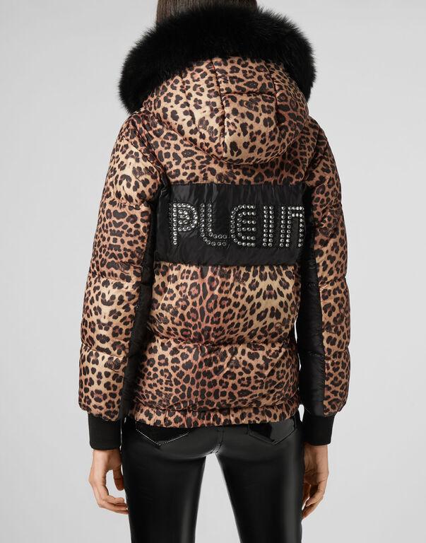 Fur Puffer Jacket Leopard