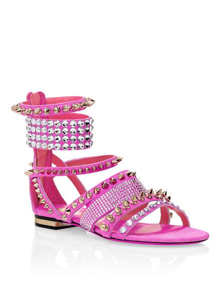 Suede Sandals Flat Studs