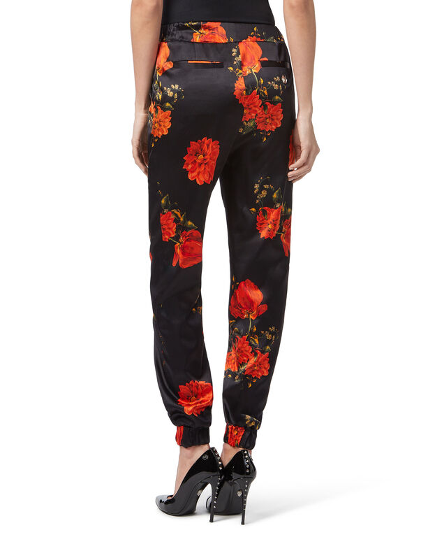 "Jogging Trousers ""Red Flowers Print"""