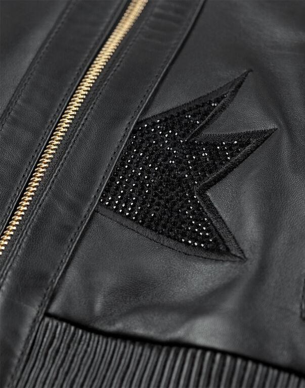 "leather bomber ""sparkling cat"""