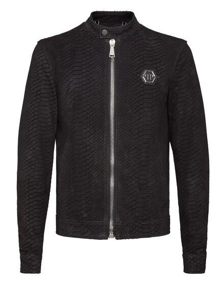 Leather Moto Jacket Snake