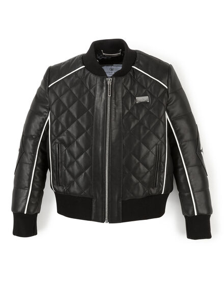 Leather Bomber Black Line