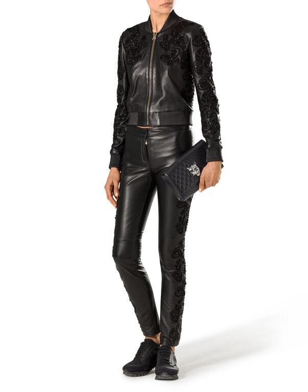"leather bomber ""beloved"""