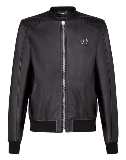 Leather Bomber Statement -O
