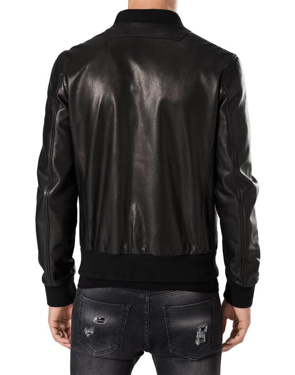 "Leather Bomber ""Ocean eyes"""