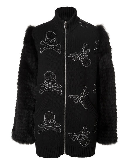 Knit Coat Short My Black