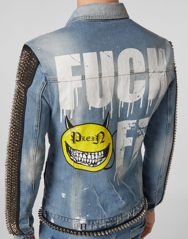Denim Jacket Evil Smile