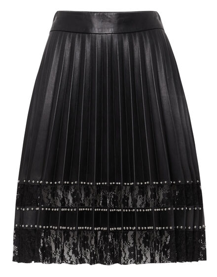 Leather Skirt Short Lace