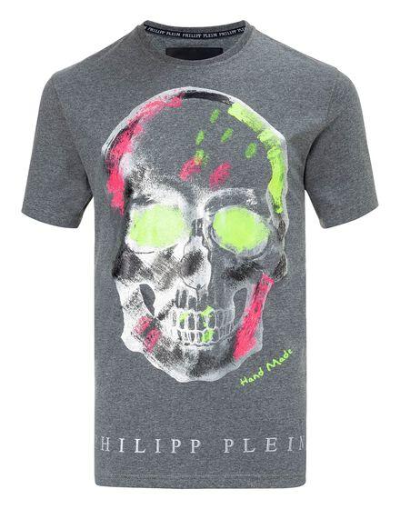 T-shirt Round Neck SS Handmade skull
