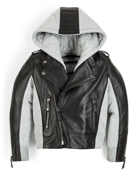leather jacket baby skull