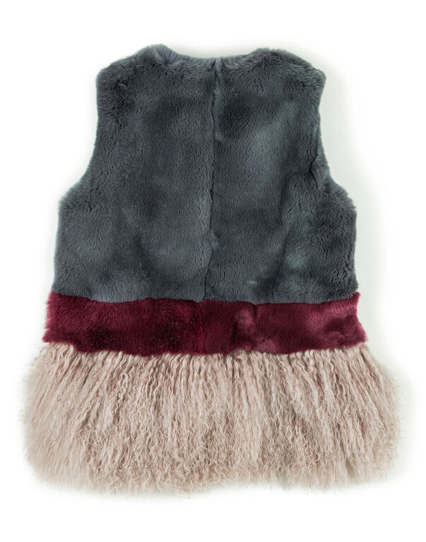 "Fur Vest Short ""Bright Rose"""