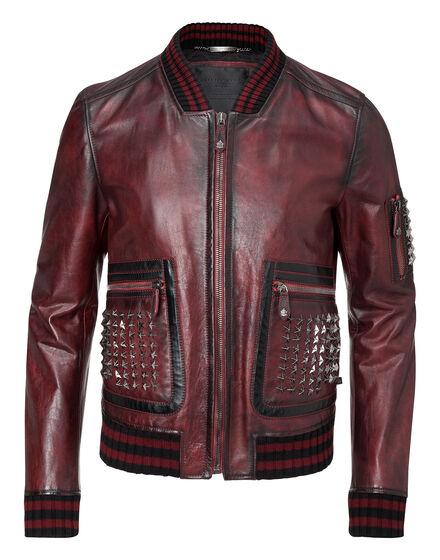 leather jacket across it