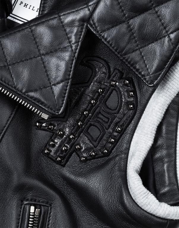 "Leather Vest Long ""Rudi"""