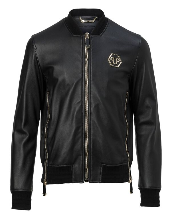 "Leather Bomber ""Gold vibe"""
