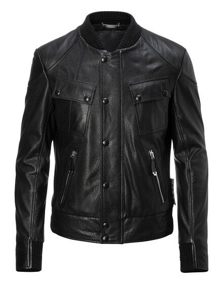 Leather Bomber Moto