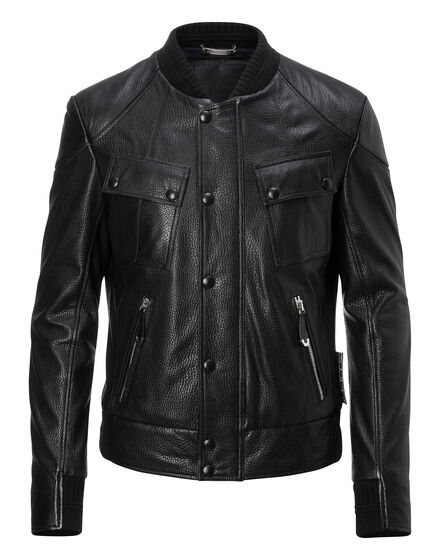 Leather Bomber Moto
