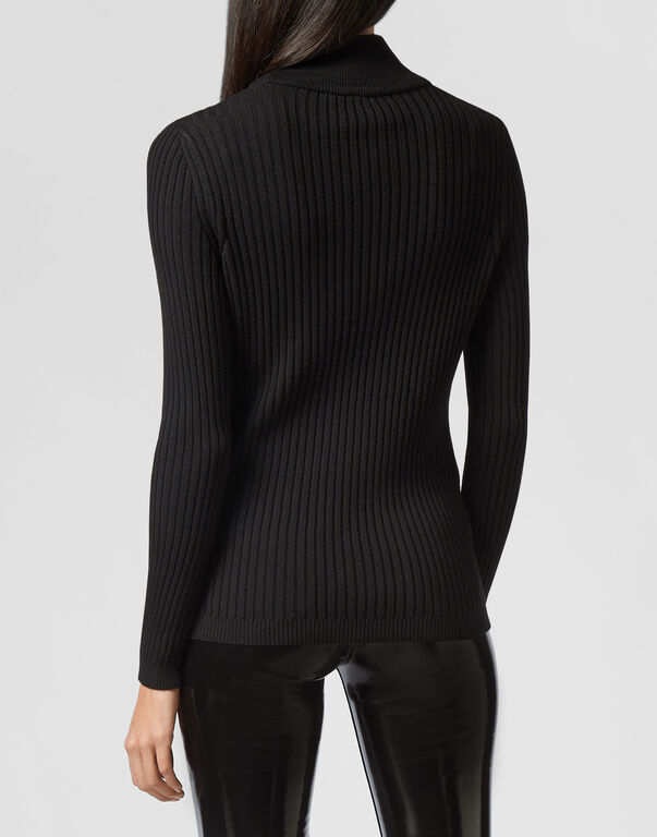 Turtle Neck LS Crystal Plein