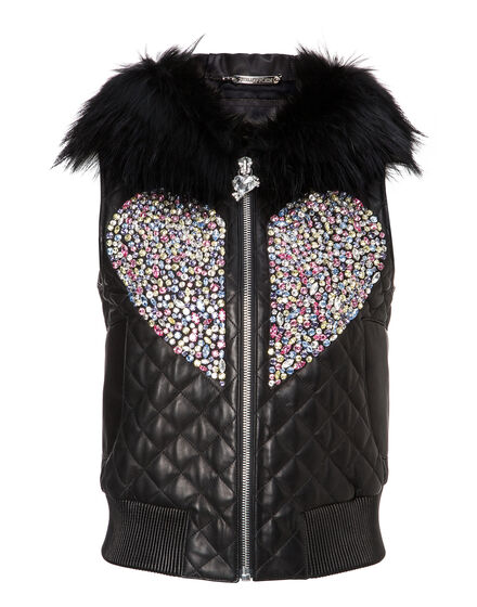 Leather Vest Short Shiny Love