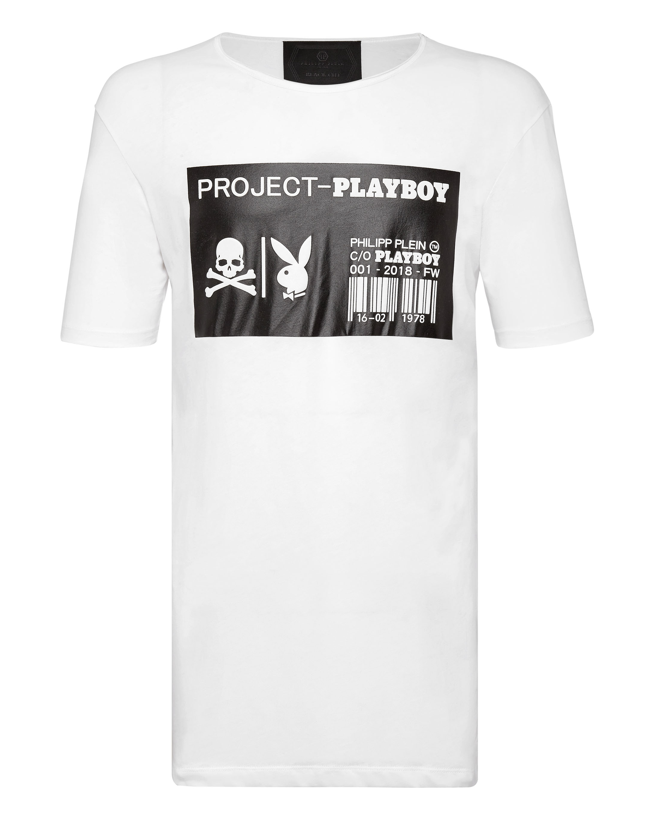 Shirt Cut T Black Playboy Round Neck SUzpMV