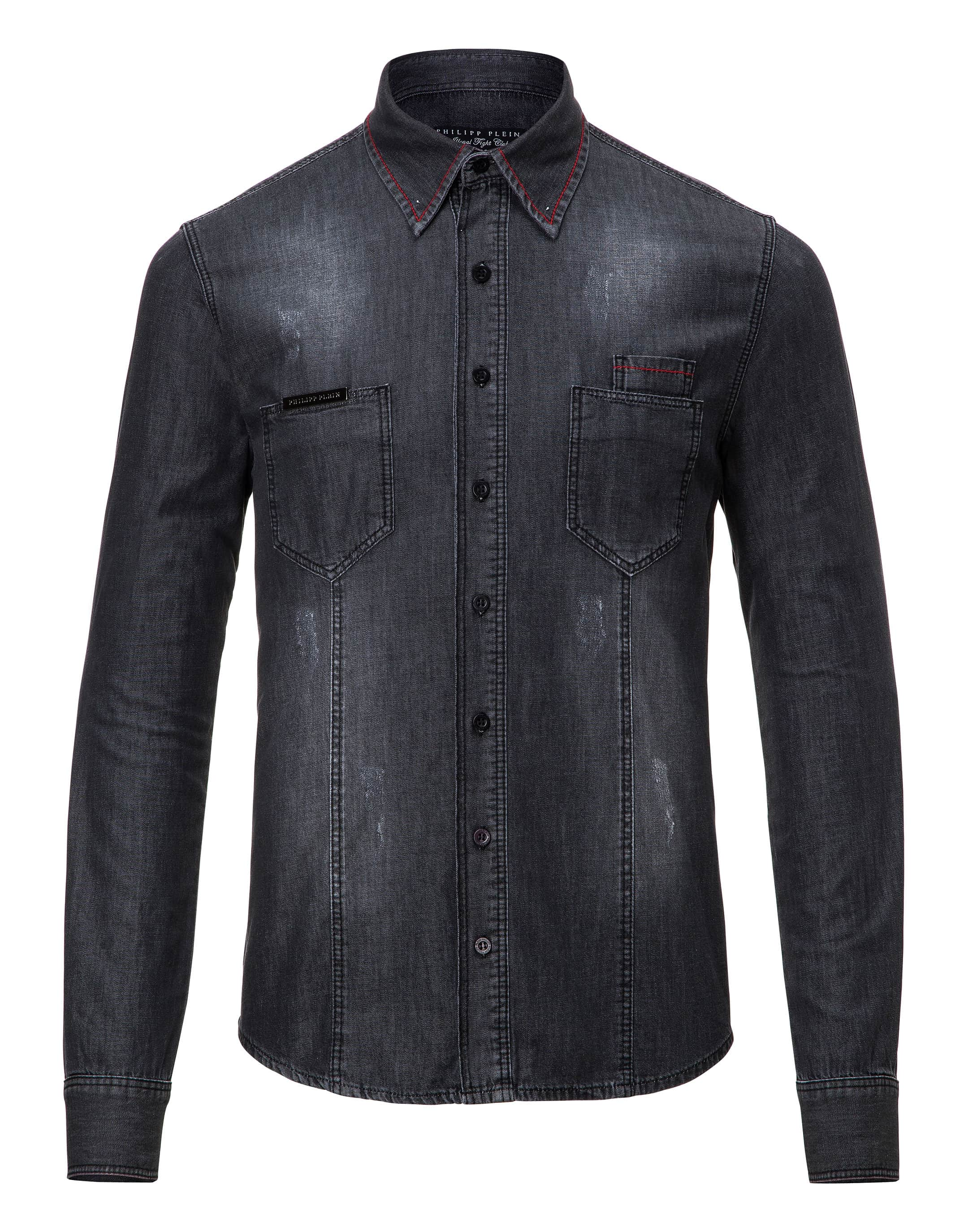 f72a44b158 PHILIPP PLEIN. Denim Shirt Ls